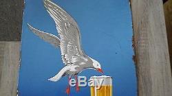 Rare plaque émaillée biere paillette double face mallet 50cm x 33 cm