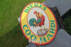 Rare plaque émaillée potence pour la bière du Coq Hardi E. A. S