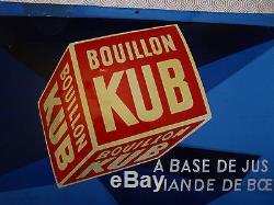 Rare plaque émaillée publicitaire bouillon Kub Sepo bombée 1940 restaurée