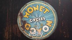 Rare plaque tole peinte monet goyon cycles vintage