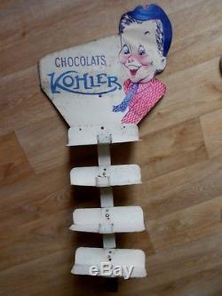 Rare présentoir CHOCOLATS KOLHER pub chocolate schokolade tôle non émaillée