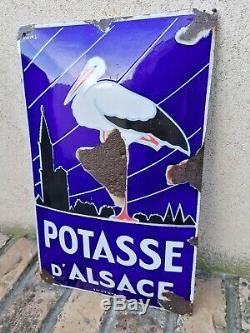 Rare superbe Plaque émaillée ancienne Potasse Alsace Format peu coûrant EAS
