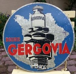 Rare tôle / plaque publicitaire non émaillée Bougies Gergovia (Solido)