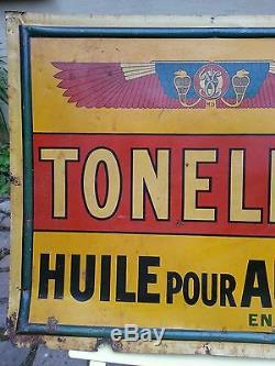Rare tôle plaque publicitaire non émaillée Toneline (Société Franco-Egyptienne)