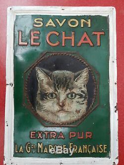 Rare tole litho savon Le Chat