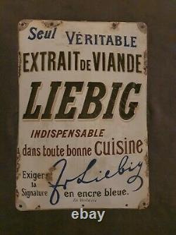 Rarissime Plaque émaillée bombée Bouillon Liebig de 1900 no kub, no maggi
