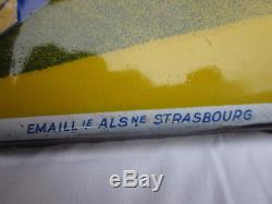 Rarissime plaque émaillée margarine ruban bleu 97x40 cm horizontale