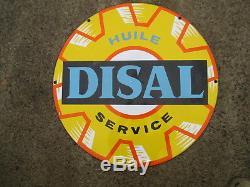 Renault Disal huile pour diesel rare plaque émaillée deco garage station service