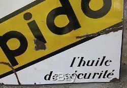 SPIDO, belle & grande plaque émaillée ancienne, 120 x 80, auto, garage, huile spido