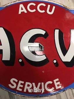 SUPERBE PLAQUE EMAILLEE ACCU A. E. V. SERVICE garage loft