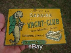 Sardine Du Yacht Club Douarnenez. Tole Original Peinte Litho B. Rabier
