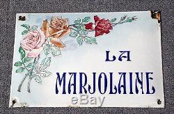 Splendide PLAQUE EMAILLEE de VILLA LA MARJOLAINE, beau dessin ROSES env. 1900
