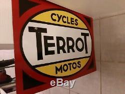 Splendide plaque émaillée cycles moto terrot EAS strasbourg quasi neuve