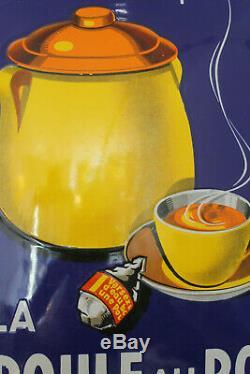 Splendide plaque émaillée poule au pot bleue état superbe