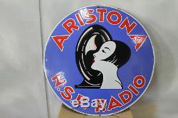 Sublime plaque émaillée ARISTONA, TSF, radio, état superbe
