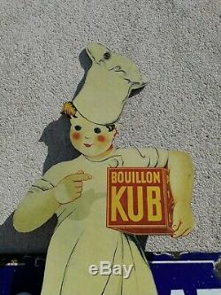 Superbe Carton Marmiton Kub bouillon no plaque emaillee déco loft ancien pub
