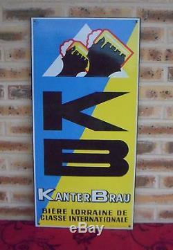 Superbe Plaque Emaillée Ancienne K B Bière Lorraine