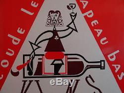 Superbe Plaque Emaillée Vins TREILLA dessin de Dizambourg Emaillerie Alsacienne