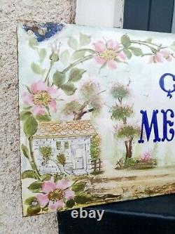 Superbe ancienne Plaque émaillée de Villa Ça me suffit top oiseau email bombée