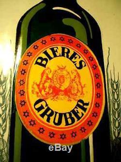 Superbe et très rare plaque émaillée bière Gruber Alsace la bouteille