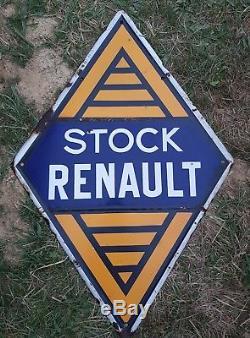 Superbe plaque émaillée STOCK RENAULT DOUBLE FACE