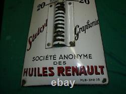 THERMOMETRE EMAILLE HUILES RENAULT STELCYL 1938 bidon huile oil pompe pump