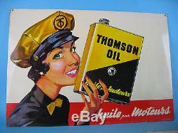 TOLE HUILE THOMSON OIL ANCIEN NO PLAQUE EMAILLEE AD GARAGE PUB ORIGINAL VINTAGE