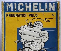 Tole Lithographiee Publicitaire Ancienne Michelin Pneumatici Velo