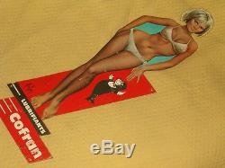 TOLE PIN UP ASLAN 1960 COFRAN huile BLECH TIN SHIELD ancienne femme girl oil
