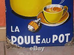 Tres Belle Plaque Emaillee Poule Au Pot Des Annees 30 Sans Restauration