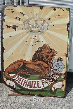 TRES GRANDE ANCIENNE PLAQUE EMAILLEE DELHAIZE LE LION