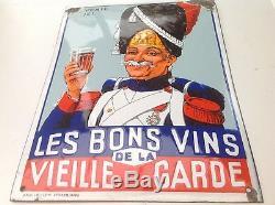 Tres Rare Ancienne Plaque Emaillée Bombée Les Bons Vins De La Vieille Garde