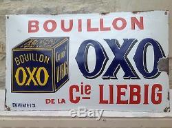 Tres Rare Ancienne Plaque Emaillée Bombée Oxo De La Compagnie Liebig Pur Jus