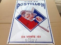 Tres Rare Ancienne Plaque Émaillée Bombee Vin Du Postillon Authentique