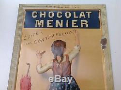 Tres Rare Ancienne Tole Litho Repoussée Chocolat Menier Année 1900 No Emaillée