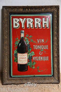 tres rare et ancienne plaque emaillee publicitaire byrrh avec cadre bois origine. Black Bedroom Furniture Sets. Home Design Ideas