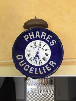 Très Rare Ancienne Plaque Émaillée Pendule Phare Ducelier Sur Cuivre