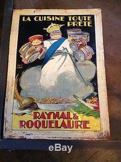 Tôle Peinte / Tôle Gaufrée raynal & Roquelaure Rare / Plaque Émaillée