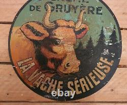 Tôle La Vache Sérieuse, no plaque émaillée ancienne Vache Qui Rit 1920 30 cm