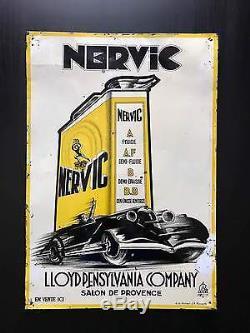 Tôle NERVIC! Plaque emaillee de garage Bidon huile