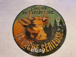 Tôle ancienne La Vache sérieuse Gruyère Jura No Vache Qui Rit no plaque émaillée