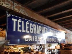 Tole émaillée des années 1900, 380 x 50, télégraphes, postes, téléphones