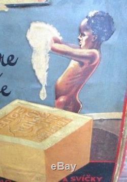 Tôle emboutie lithographiée HELIOS Black Americana Savon Mydlo Paulus Praha 1920