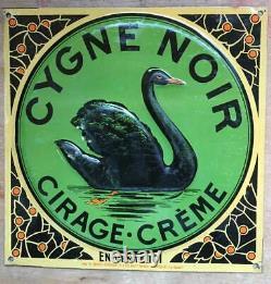 Tôle litho ancienne Cygne Noir, cirage-crème (embossée / gaufrée)