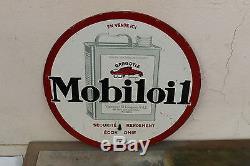 Tole peinte MOBILOIL bidon huile ancien no plaque emaillee