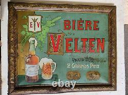 Tôle peinte bière VELTEN Brasserie de la Méditerrannée 1900. No plaque émaillée