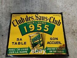 Tole pub club des sans clubs 1955 publicitaire