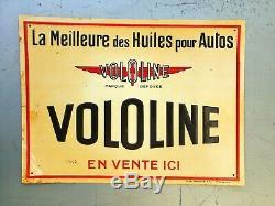 Tôle publicitaire 1930 Vololine huile automobile no Plaque émaillée no oil can