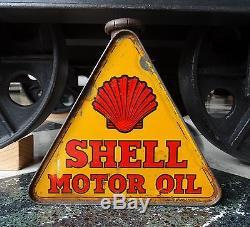Très beau bidon d'huile triangulaire Shell Motor Oil, bel état, 1930