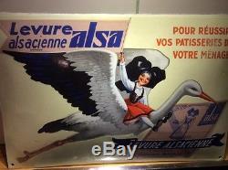 Très belle plaque émaillée levure ALSA la cigogne